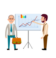 Two men standing near poster with charts flat icon vector