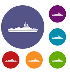 warship icons set vector image