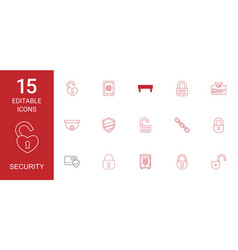 15 security icons vector image