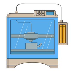 3d printer technology icon in flat style vector