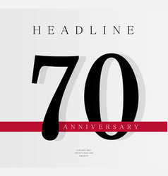 70th anniversary banner template journal cover vector