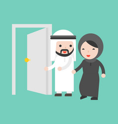 Arab businessman open door for businesswoman vector