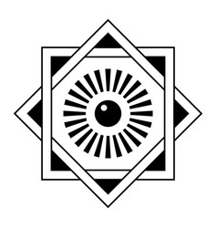 Art deco frame star david template with eye in vector
