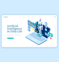 artificial intelligence in daily life banner vector image