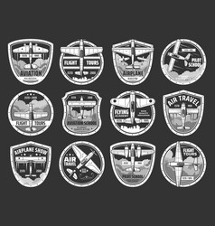 Aviation school and air tours icons set vector