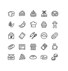 bakery sign black thin line icon set vector image