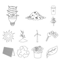Bio and ecology outline icons in set collection vector