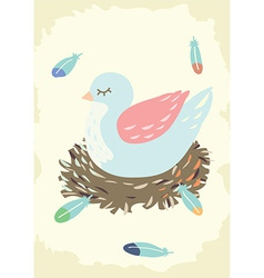 Bird Nest with Mother Bird vector