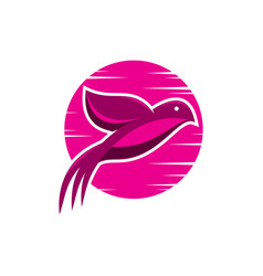 bird pink sunrise logo vector image