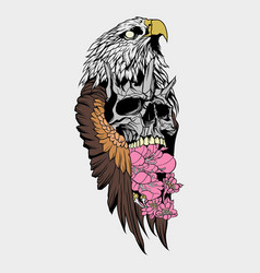 birds skull and flower vector image