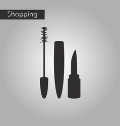 Black and white style icon mascara and lipstick vector