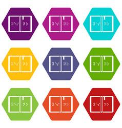 Braille icon set color hexahedron vector