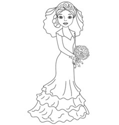 Bride in black and white vector