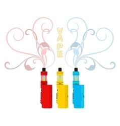 Bright vape devices set vaping liquid smoke vector
