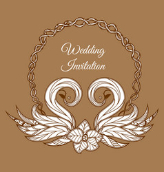 brown wedding invitation vector image