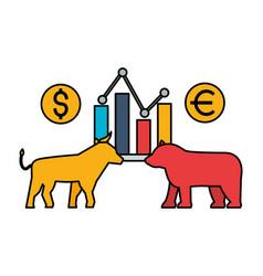 bull and bear chart exchange stock market vector image