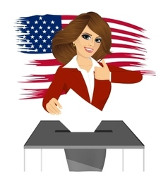 businesswoman putting ballot in vote box vector image