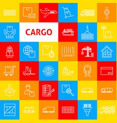 Cargo line icons vector