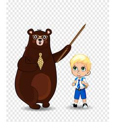 cartoon bear teacher and school boy sitting on vector image
