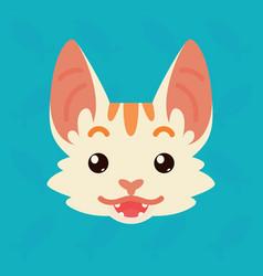 Cat emotional head of cute vector