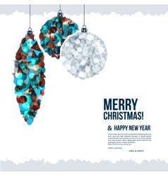 Christmas card with balls composed vector