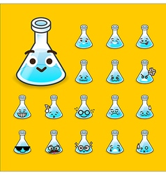 Collection of difference emoticon flask icon test vector
