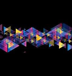 colorful neon retro triangles tech abstract vector image