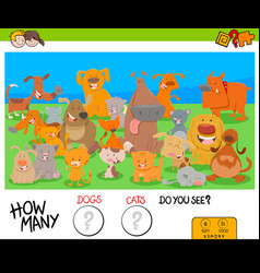 Counting dogs and cats educational game for kids vector
