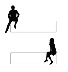 Couple silhouette sitting vector