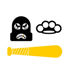 Criminal set icon robber sign brass knuckles and vector