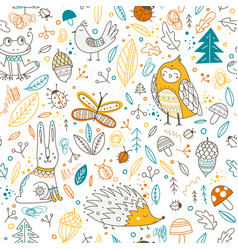 Cute forest animals and elements seamless pattern vector