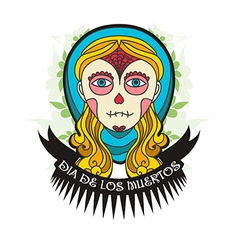 Day of dead skull girl with ribbon vector