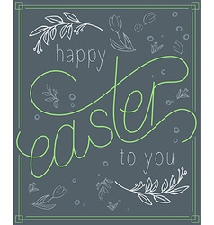 easter day card poster with floral branches vector image