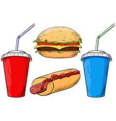 fast food set cheeseburger hot dog and drinks vector image