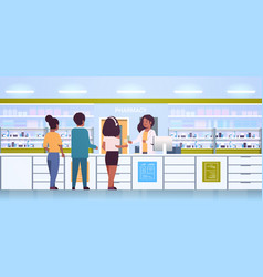 Female doctor pharmacist giving pills to customers vector