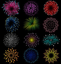 Fireworks set on black background vector
