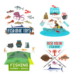 fishing sport icons with fisherman fish and boat vector image
