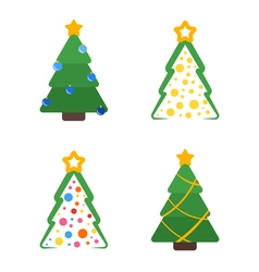 Flat colored christmas tree with star and garland vector image