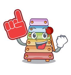 Foam finger xylophone with character wooden on vector