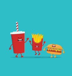 funny french fries with hamburger and cola vector image