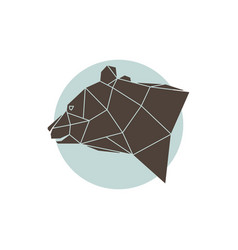 geometric brown bear vector image