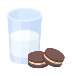 Glass of milk with cookies icon in cartoon style vector image