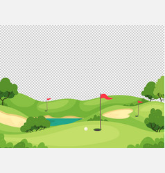 Golf background green golf course with hole and vector