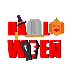 halloween logo lettering gravestones and coffin vector image