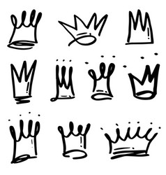 Hand drawn crowns logo set isolated on white vector
