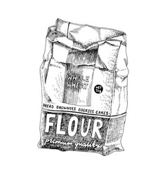 Hand drawn soft package with flour vector
