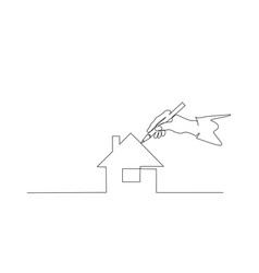 Hand people painting house with paintbrush vector