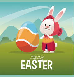 Happy easter card girl bunny egg landscape vector