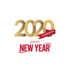 Happy new year 2020 logo template design vector