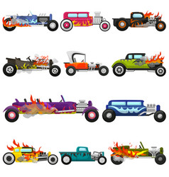 hot rods car muscle racing speedcar on a vector image